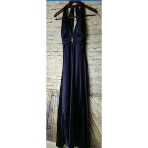David Bridal Purple Full Length Deep V Sleeveless